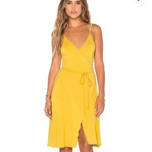 Mustard yellow wrap dress from revolve